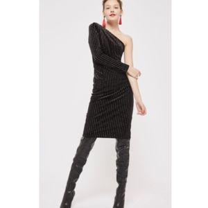 TOPSHOP Black Velvet One Shoulder Glitter Dress